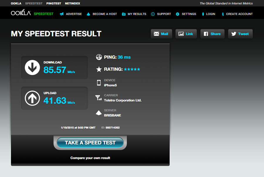 Toowong 5G - 4G Speed Test